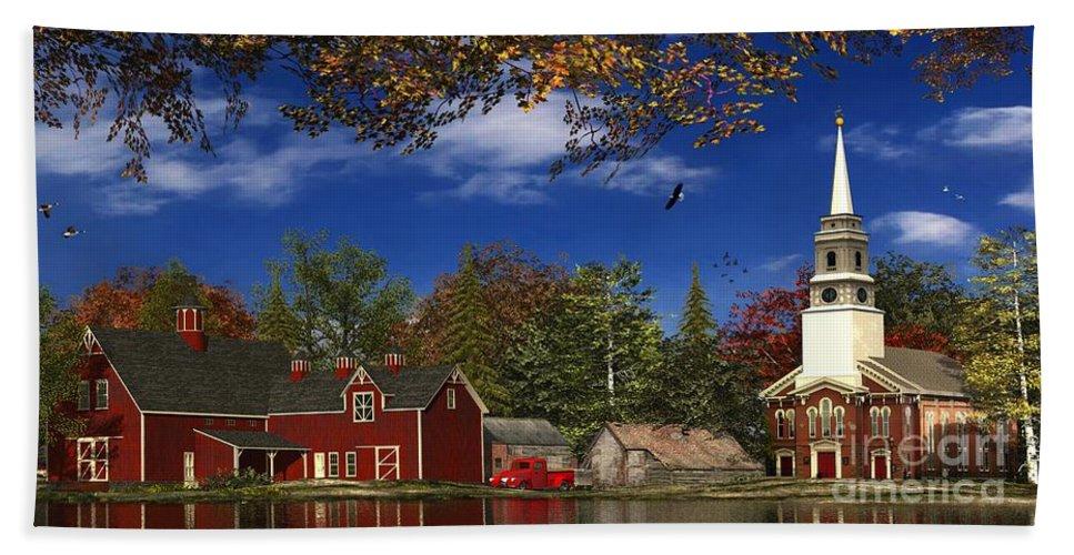 New England Bath Sheet featuring the digital art Autumn Church Row by Dominic Davison