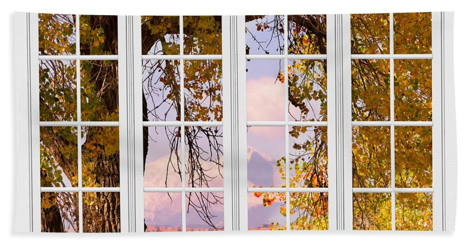 Window Bath Sheet featuring the photograph Autumn Cottonwood Tree Longs Peak White Window View by James BO Insogna
