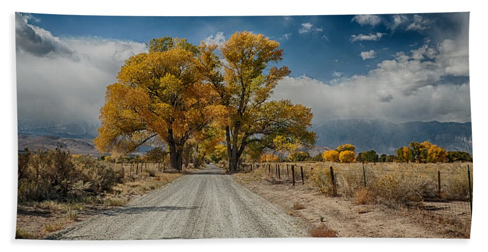 Fall Bath Sheet featuring the photograph Autumn Country Road by Cat Connor