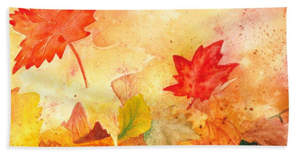 Fall Hand Towel featuring the painting Autumn Dance by Irina Sztukowski