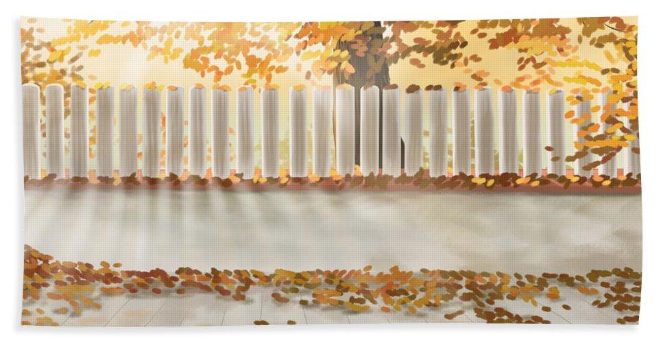 Autumn Bath Sheet featuring the digital art Autumn Day by Veronica Minozzi