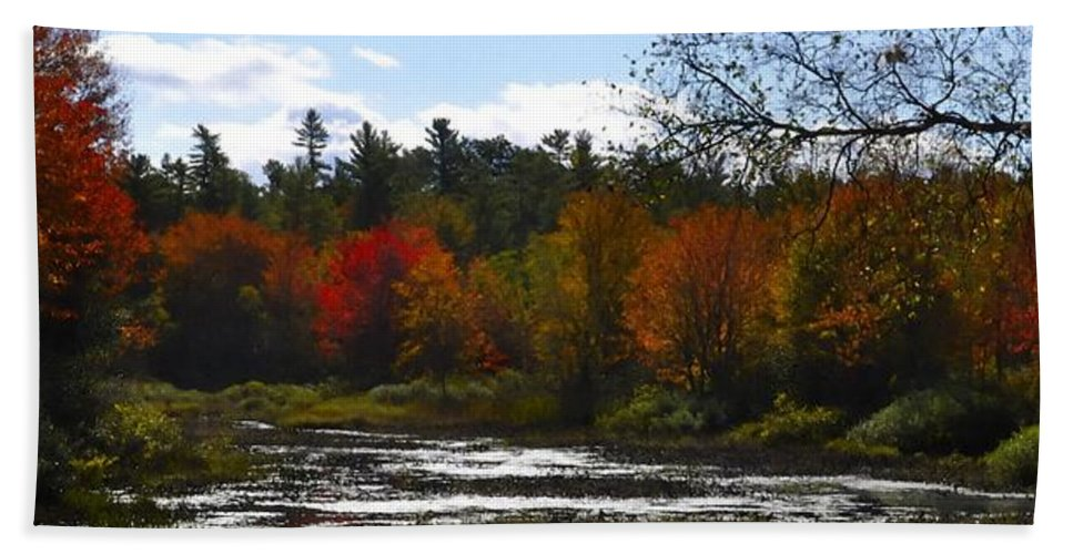 River Hand Towel featuring the digital art Autumn Dreaming Adwc by Jim Brage