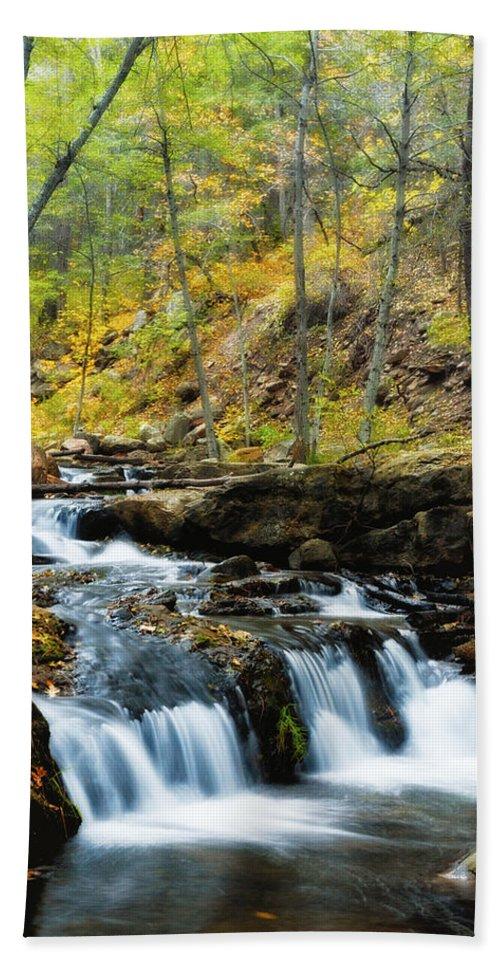 Creekside Bath Sheet featuring the photograph Autumn Falls by Saija Lehtonen