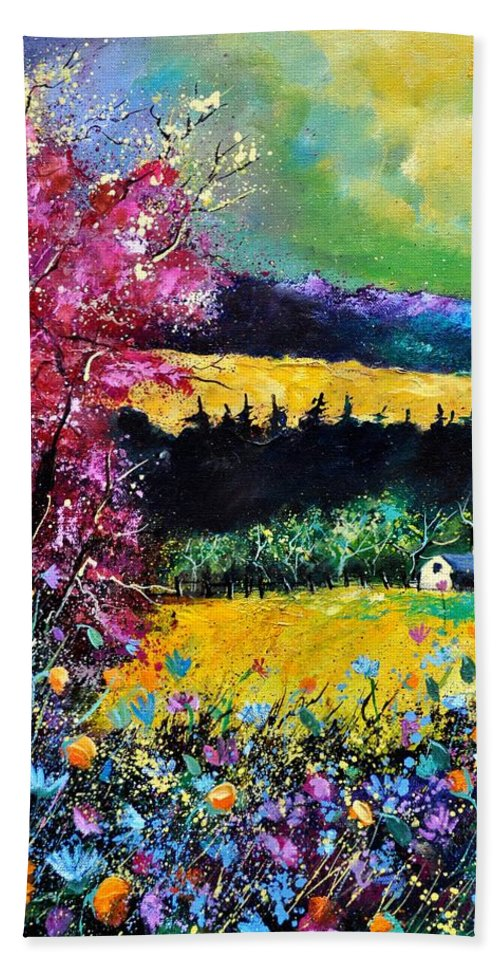 Landscape Hand Towel featuring the painting Autumn Flowers by Pol Ledent