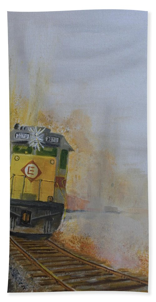 Train Hand Towel featuring the painting Autumn Fog by Christopher Jenkins