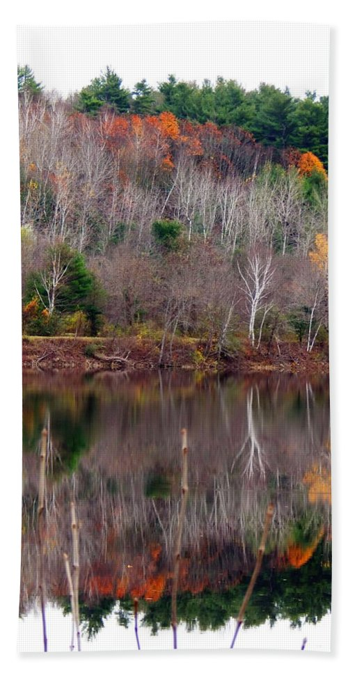 Autumn Foliage Bath Sheet featuring the photograph Autumn Foliage River Reflection by Expressionistart studio Priscilla Batzell