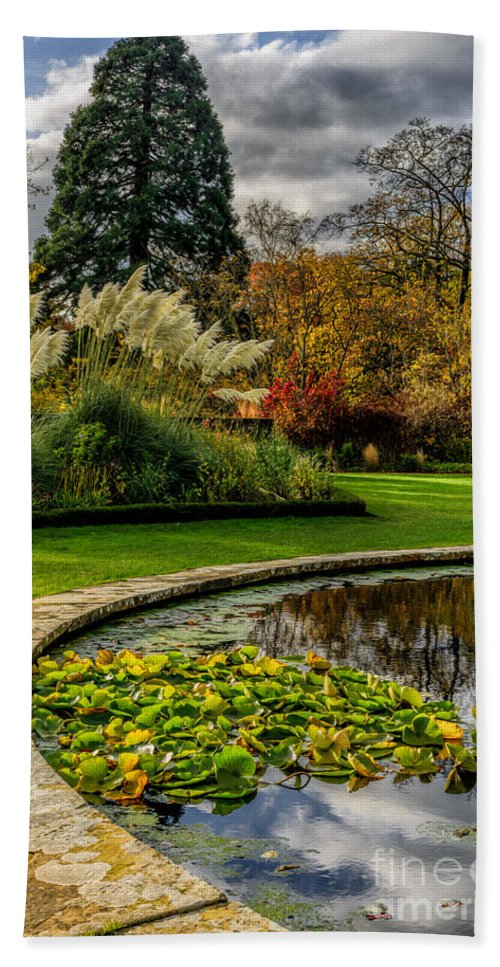 Pond Hand Towel featuring the photograph Autumn Garden by Adrian Evans