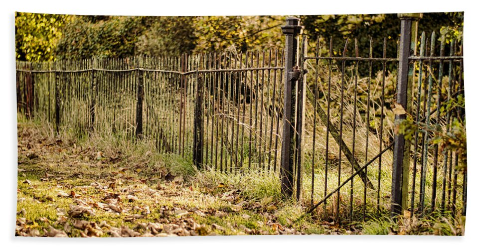 Iron Bath Sheet featuring the photograph Autumn Gate by Heather Applegate