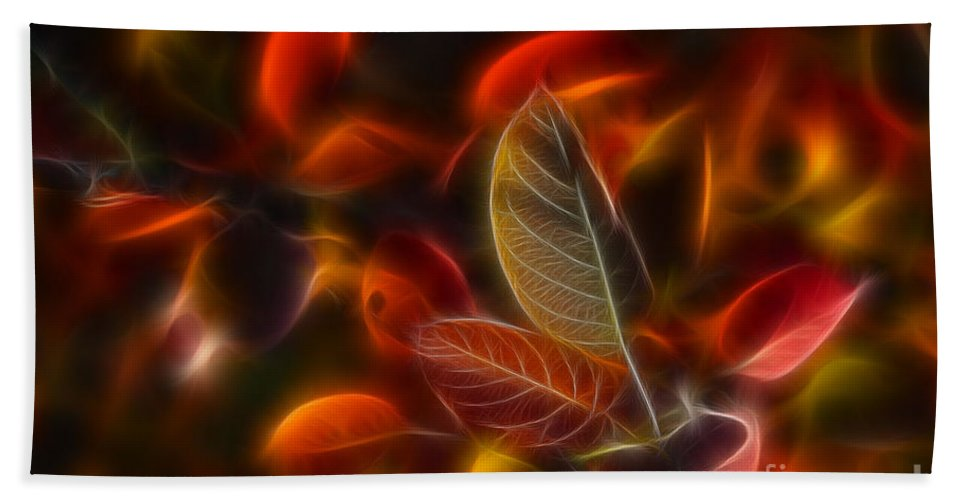 Abstract Bath Towel featuring the photograph Autumn Glow by Veikko Suikkanen