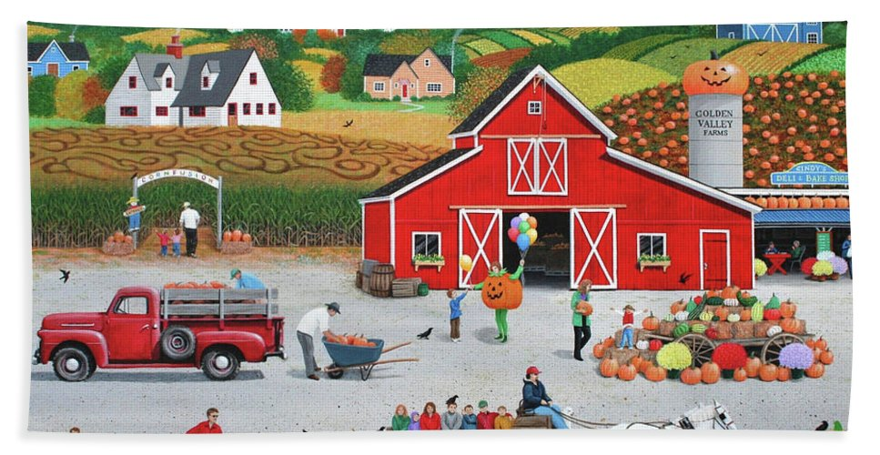 Folk Art Hand Towel featuring the painting Autumn Harvest by Wilfrido Limvalencia