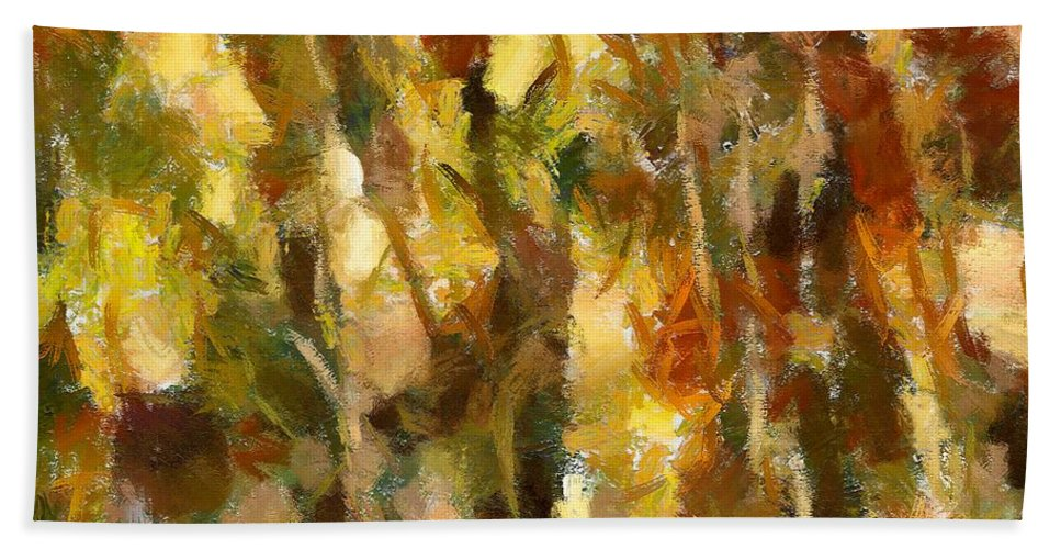 Abstract Landscape Hand Towel featuring the painting Autumn Impression 2 by Dragica Micki Fortuna