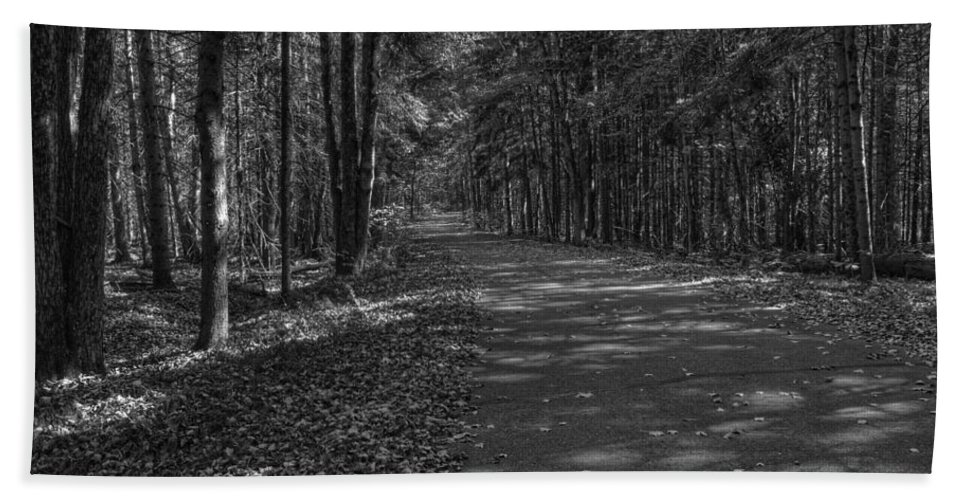 Fall Colors In Black And White Bath Sheet featuring the photograph Autumn In Black And White by Thomas Young