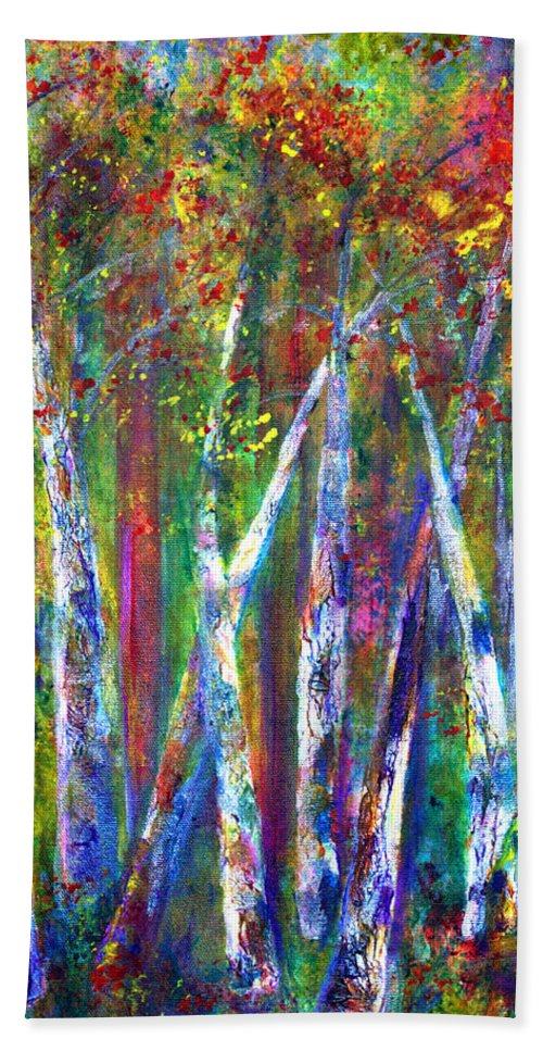 Claire Bull Hand Towel featuring the painting Autumn In Muskoka by Claire Bull