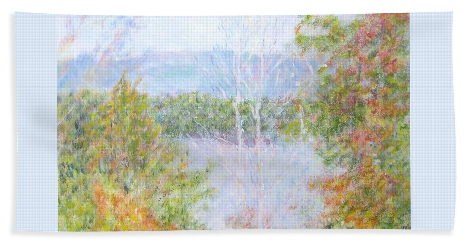 Impressionism Bath Sheet featuring the painting Autumn By The Lake In New Hampshire by Glenda Crigger