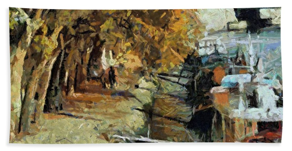 Autumn Hand Towel featuring the painting Autumn In Paris by Dragica Micki Fortuna