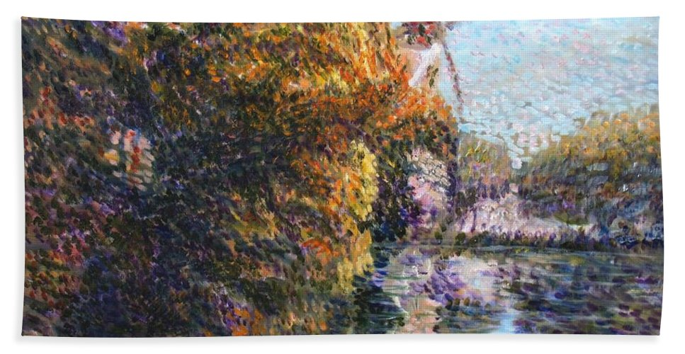 Autumn Bath Sheet featuring the painting Autumn In Schiedam by Elena Sokolova