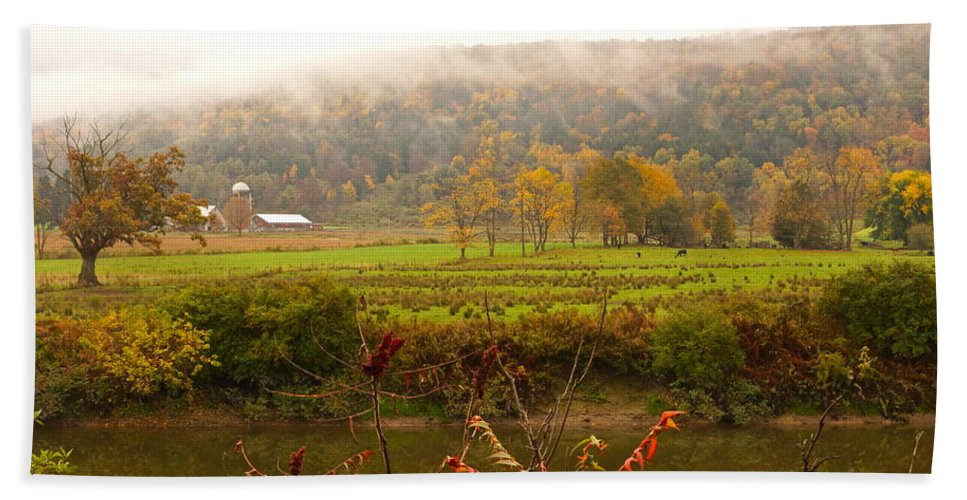 Autumn Pastoral Landscape Bath Sheet featuring the photograph Autumn In The Butternut Valley-six by Byron Varvarigos