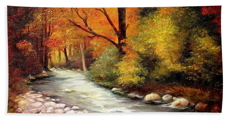 Autumn Bath Sheet featuring the painting Autumn In The Forest by Sorin Apostolescu