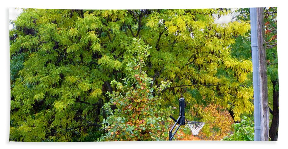 Autumn In The Suburbs Hand Towel featuring the photograph Autumn In The Suburbs by Jessica Tolemy
