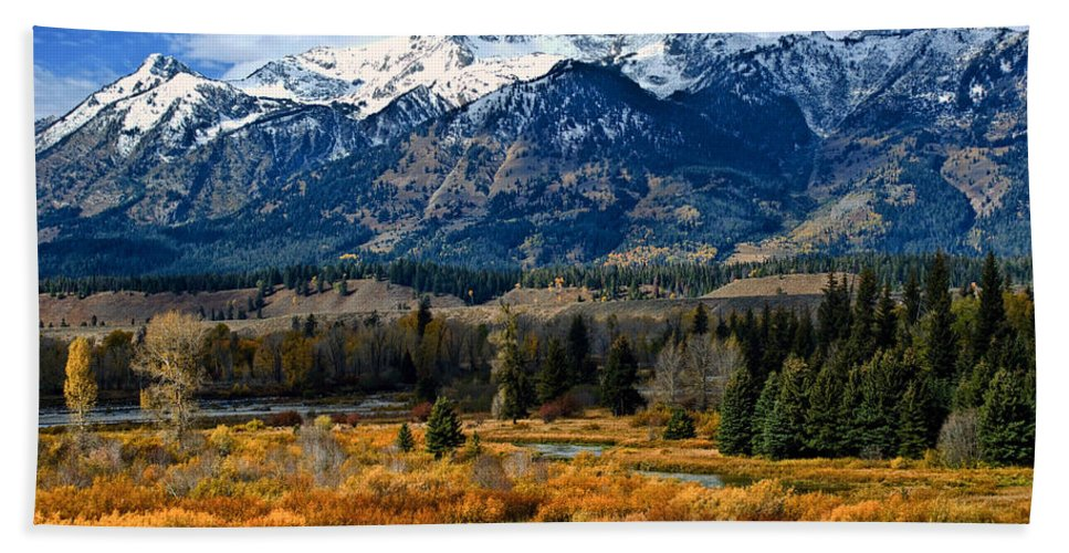 Mountain Bath Towel featuring the photograph Autumn In The Tetons by Brian Kerls