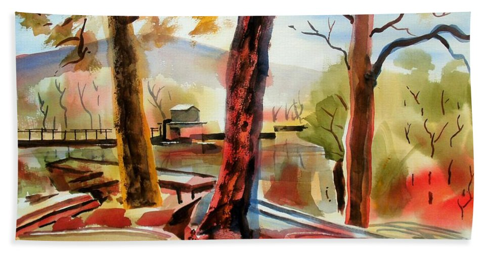 Autumn Bath Sheet featuring the painting Autumn Jon Boats I by Kip DeVore