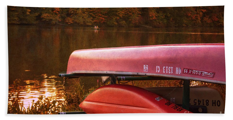 Autumn Hand Towel featuring the photograph Autumn Kayaks On Newport Lake by Janice Pariza