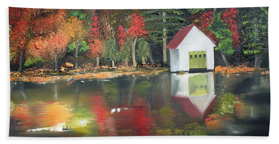 Happy Little Trees Bath Sheet featuring the painting Autumn - Lake - Reflecton by Jan Dappen