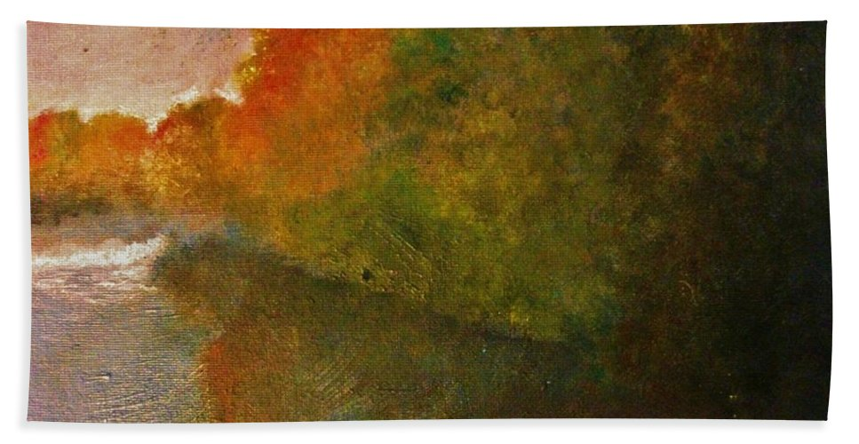 Autumn Bath Sheet featuring the painting Autumn Lake View by Crystal Menicola