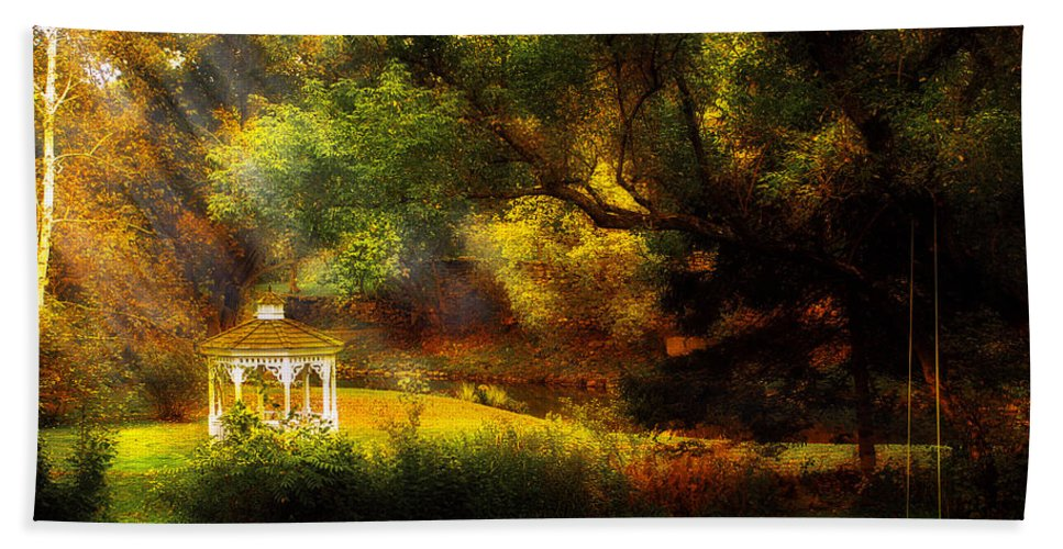 Past Bath Sheet featuring the photograph Autumn - Landscape - Past And Present by Mike Savad