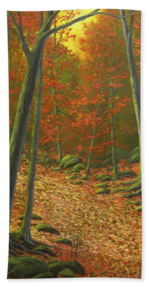 Autumn Leaf Litter Hand Towel featuring the painting Autumn Leaf Litter by Frank Wilson