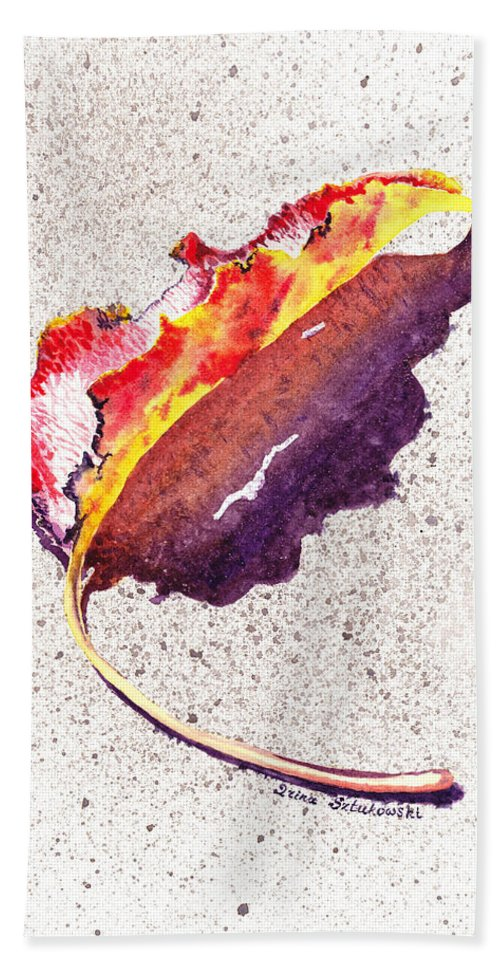 Fall Hand Towel featuring the painting Autumn Leaf On Fire by Irina Sztukowski