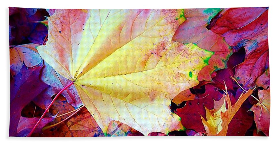 Yellow Hand Towel featuring the photograph Autumn Leaf by Ydania Ogando