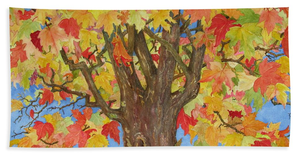 Leaves Bath Towel featuring the painting Autumn Leaves 1 by Mary Ellen Mueller Legault