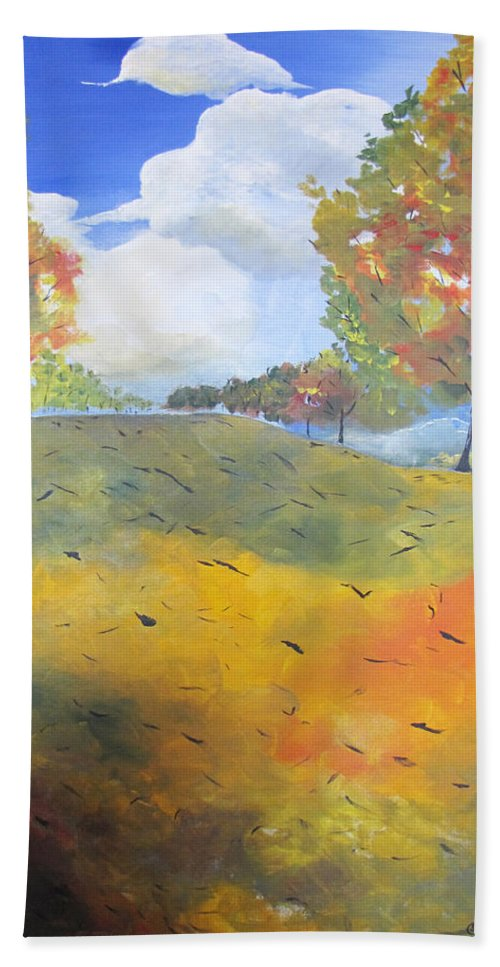 Acrylic Hand Towel featuring the painting Autumn Leaves Panel 2 Of 2 by Gary Smith