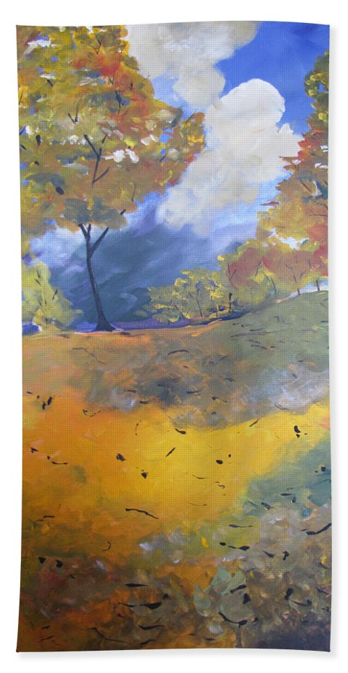 Landscape Bath Towel featuring the painting Autumn Leaves Panel1 Of 2 Panels by Gary Smith