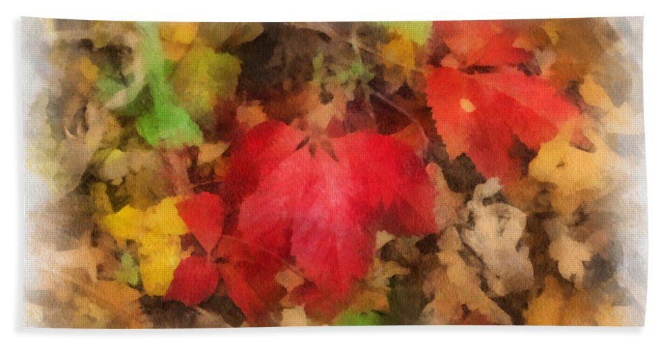 Autumn Hand Towel featuring the photograph Autumn Leaves Photo Art 04 by Thomas Woolworth