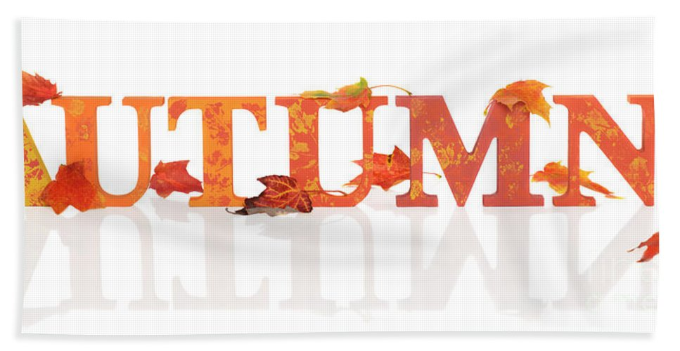Autumn Bath Sheet featuring the photograph Autumn Letters With Leaves by Amanda Elwell