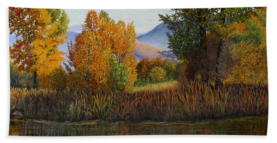 Landscape Hand Towel featuring the painting Autumn Light by Beverly Theriault