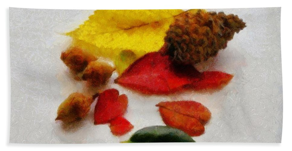 Acorn Hand Towel featuring the painting Autumn Medley by Jeffrey Kolker