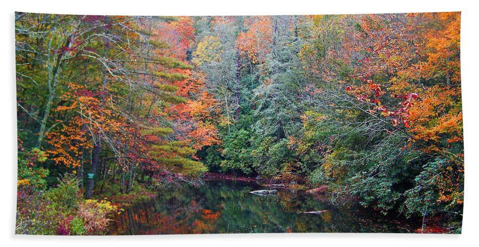 Autumn Hand Towel featuring the photograph Autumn Mountain Stream by Patricia Taylor
