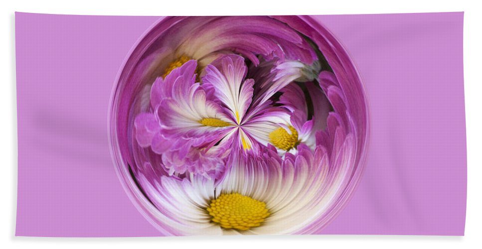 Purple Bath Sheet featuring the photograph Autumn Mum Orb Abstract by Darleen Stry