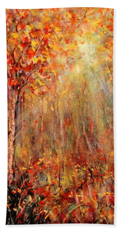Landscape Bath Sheet featuring the painting Autumn by Natalie Holland