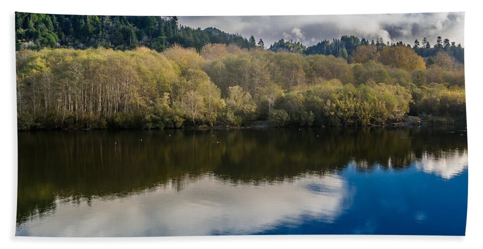 Clouds Hand Towel featuring the photograph Autumn On The Klamath 10 by Greg Nyquist