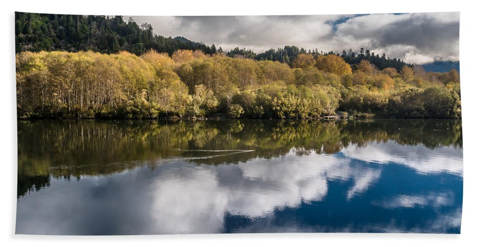 Reflections Hand Towel featuring the photograph Autumn On The Klamath 11 by Greg Nyquist