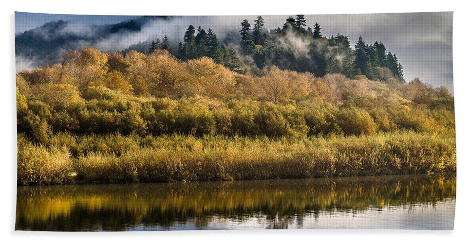 Fog Hand Towel featuring the photograph Autumn On The Klamath 6 by Greg Nyquist
