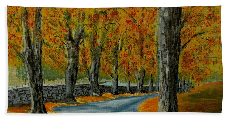 Autumn Bath Towel featuring the painting Autumn Pathway by Anthony Dunphy