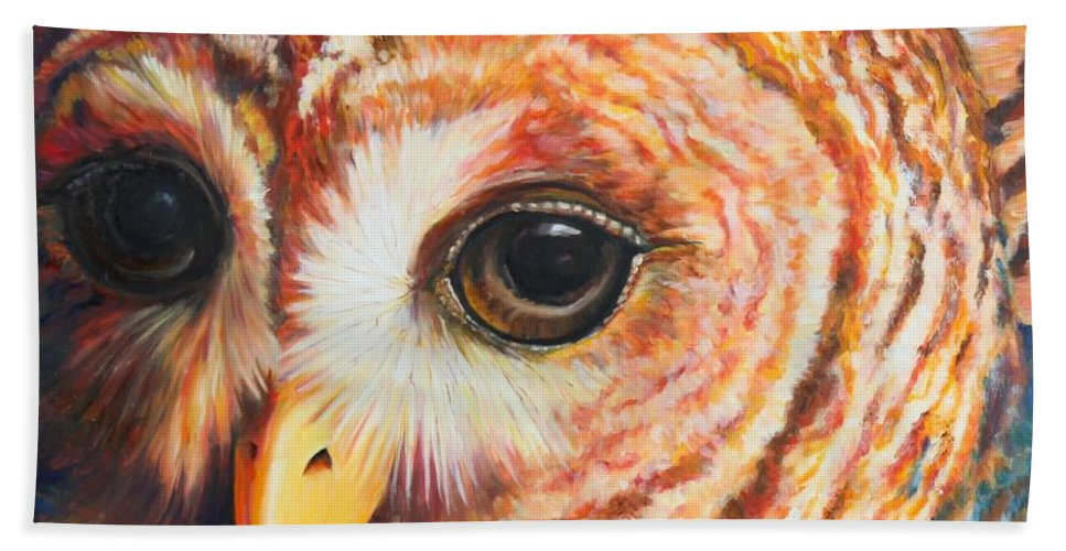 Owl Hand Towel featuring the painting Autumn Rain by Codyrose Bowden