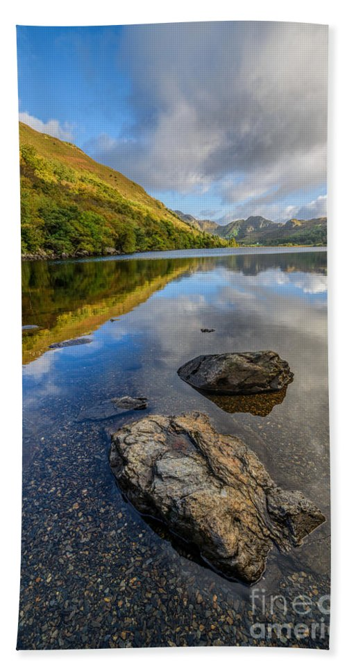 Betws Y Coed Bath Sheet featuring the photograph Autumn Reflection by Adrian Evans