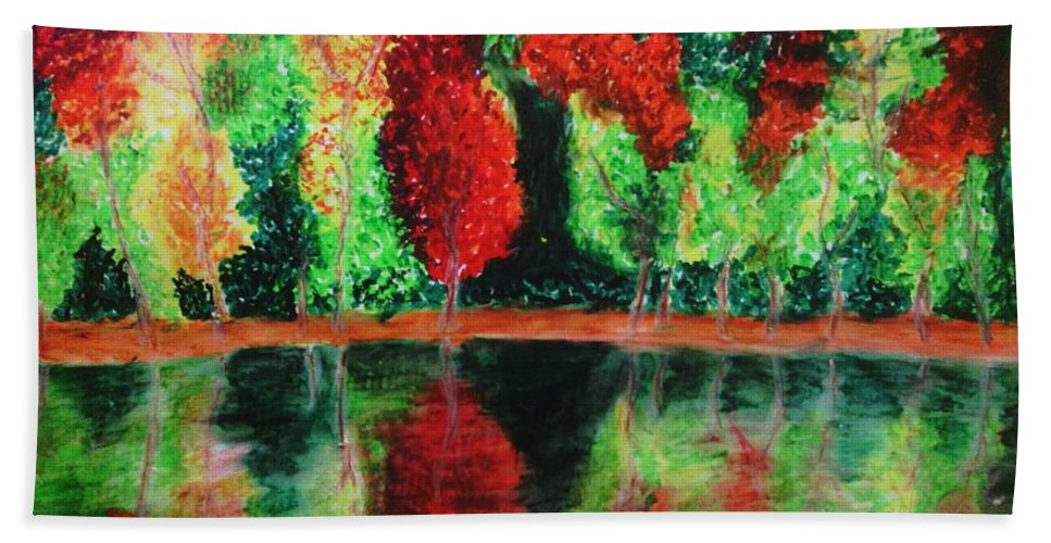 Autumn Hand Towel featuring the drawing Autumn Reflection by Crystal Menicola