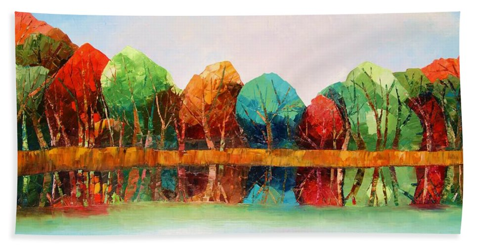 Autumn Colors Hand Towel featuring the painting Autumn Reflections by Misuk Jenkins
